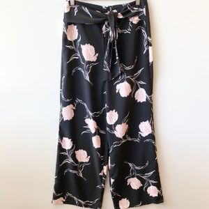 Portmans Black Floral Wide Leg Palazzo Pants